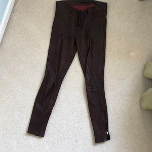 J Brand Leather 5-Pocket Skinnies